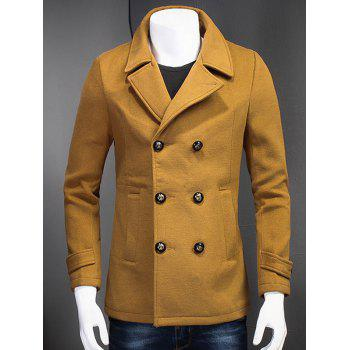Slimming Double Breasted Turndown Collar Woolen Coat