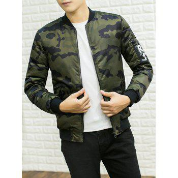 Stand Collar Camouflage Pattern PU Applique Cotton Padded Jacket