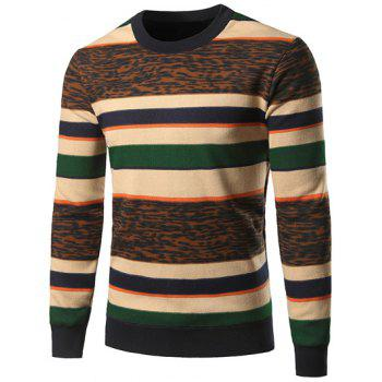 Color Block Leopard Spliced Stripe Crew Neck Sweater