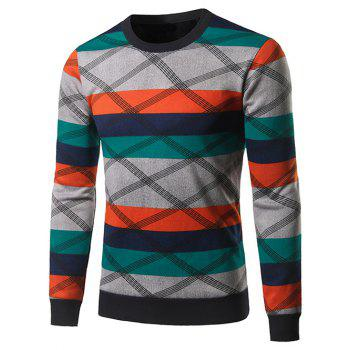 Color Block Spliced Cross Stripe Crew Neck Sweater