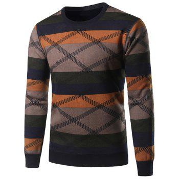 Color Block Splicing Cross Stripe Crew Neck Sweater
