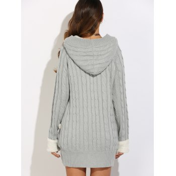 Horn Button Cable Knit Cardigan - GRAY M