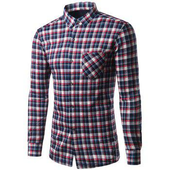 Thicken Turndown Collar Color Block Checked Shirt
