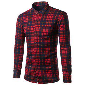 Buy Thicken Turndown Collar Color Block Checked Pattern Shirt RED