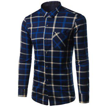 Thicken Turndown Collar Color Block Plaid Pattern Shirt
