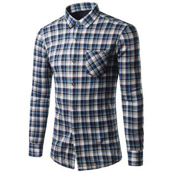 Thicken Turndown Collar Tartan Print Shirt