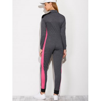 Casual Color Block Sporty Jumpsuit - DEEP GRAY L