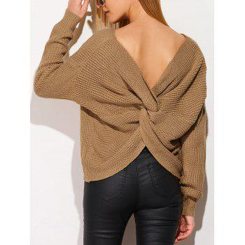 Backless Knotted Draped Sweater