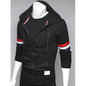 Striped Sleeve Pocket Front Zip Up Hoodie
