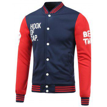 Rib Spliced Color Block Letter Baseball Jacket - BLUE AND RED L