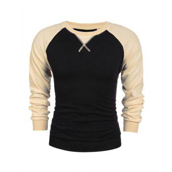 Crew Neck Raglan Sleeve Two Tone Sweatshirt