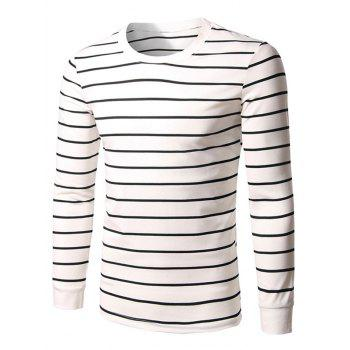 Crew Neck Long Sleeve Striped T-Shirt