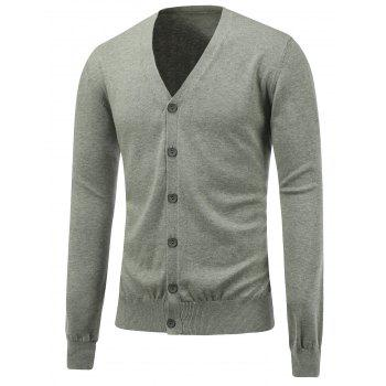 Button Up V Neck Flat Knitted Cardigan