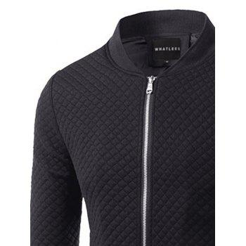 Zip Up Rhombus Pattern Insert Jacket - BLACK BLACK