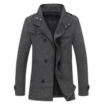 Back Vent Stand Collar Herringbone Pea Coat