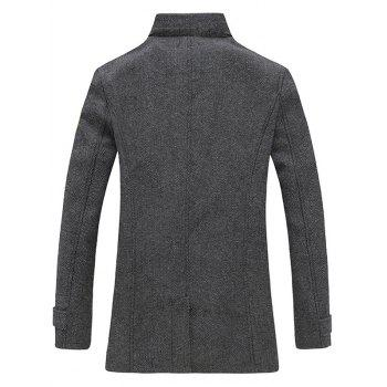 Back Vent Stand Collar Herringbone Pea Coat - DEEP GRAY M