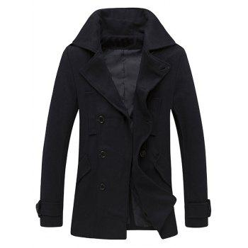 Epaulet Design Pocket Button Tab Cuff Pea Coat - CADETBLUE CADETBLUE