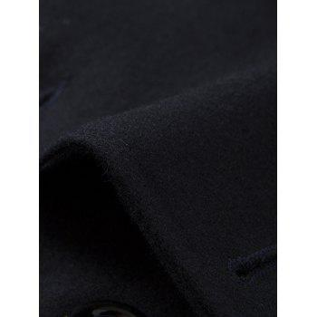 Epaulet Design Pocket Button Tab Cuff Pea Coat - CADETBLUE XL