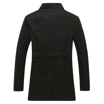 Belted Epaulet Design Back Vent Trench Coat - BLACK BLACK