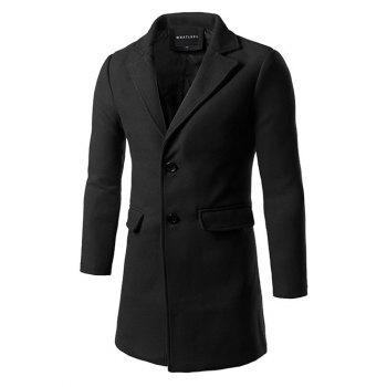Single Breasted Back Vent Flap Pocket Woolen Coat - BLACK L