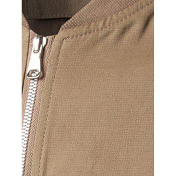 Rib Cuff Stand Collar Zippered Pockets Coat - KHAKI M