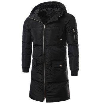Hooded Multi Pocket Zip Up Padded Coat - BLACK BLACK