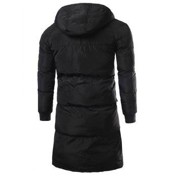 Hooded Multi Pocket Zip Up Padded Coat - BLACK M
