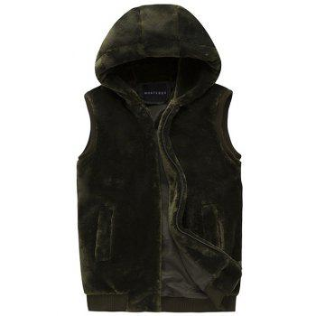 Hooded Rib Insert Zip Up Faux Mink Fur Vest