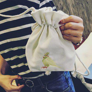 Parrot Embroidery Drawstring Canvas Bucket Bag