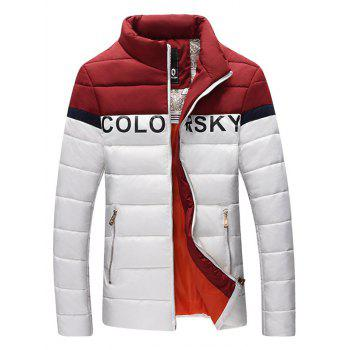 Letter Printed Color Block Zipper Pocket Padded Jacket - WHITE WHITE