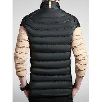 Color Block Striped Zip Up Padded Jacket - BLACK M