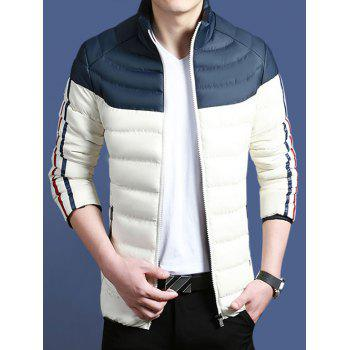 Color Block Striped Zip Up Padded Jacket - DEEP BLUE DEEP BLUE
