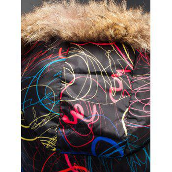 Zipper Up Printed Padded Jacket with Fur Trim Hood - L L