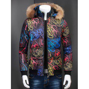 Zipper Up Printed Padded Jacket with Fur Trim Hood - BLACK L