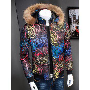 Zipper Up Printed Padded Jacket with Fur Trim Hood - BLACK M
