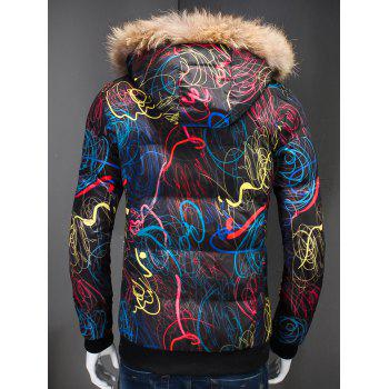 Zipper Up Printed Padded Jacket with Fur Trim Hood - M M