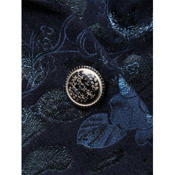 Lapel Single Breasted Flap Pocket Jacquard Blazer - DEEP BLUE DEEP BLUE