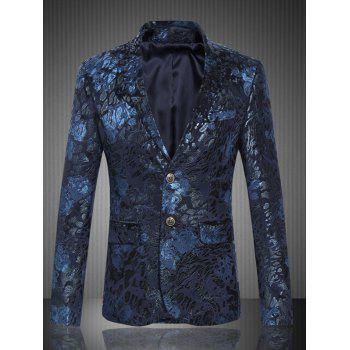 Lapel Single Breasted Flap Pocket Jacquard Blazer - DEEP BLUE XL