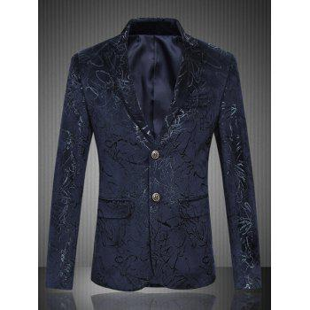 Buy Single Breasted Lapel Collar Jacquard Blazer