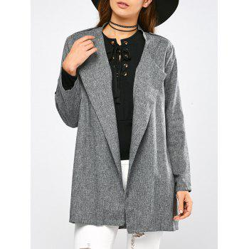 Epaulet Open Front Walker Coat - GRAY GRAY