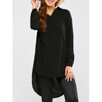 Longline High Low Blouse - BLACK L