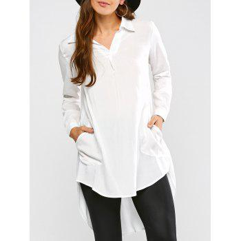 Longline High Low Blouse - WHITE L