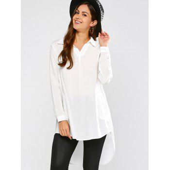 Longline High Low Blouse - WHITE S