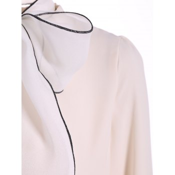 Pussy Bow Tied Neck Chiffon Blouse - L L
