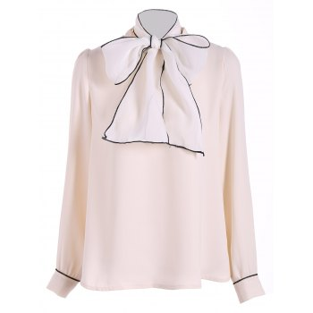 Pussy Bow Tied Neck Chiffon Blouse - APRICOT L