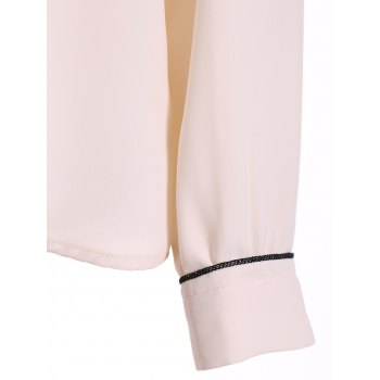 Pussy Bow Tied Neck Chiffon Blouse - M M