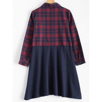 Plaid Panel Smock Dress - DEEP RED DEEP RED