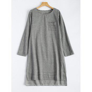 Grid High Low Hem Loose Shift  Dress - GRAY M
