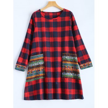 Tribal Print Plaid Paneled Dress - RED M