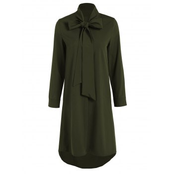 Pussy Bow Tied Neck Shirt Dress - OLIVE GREEN 2XL